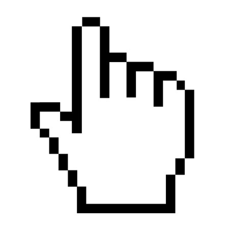 Pixel hand icon on white background. hand cursor icon flat style. pixel hand sign. hand click icon.