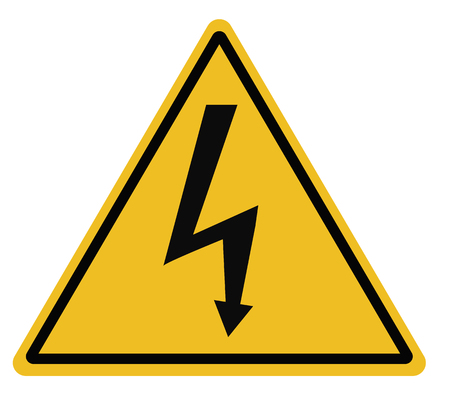 High voltage triangular warning sign on white background. high voltage sign. lightning warning black sign in triangle. danger sign for electricity.