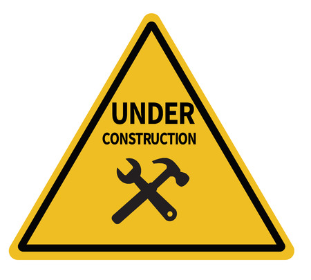 under construction triangular warning sign on white background. under construction sign. under construction road symbol. Illusztráció