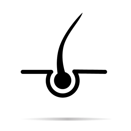 Hair icon on white background. hair with shadow sign. hair symbol. flat style.