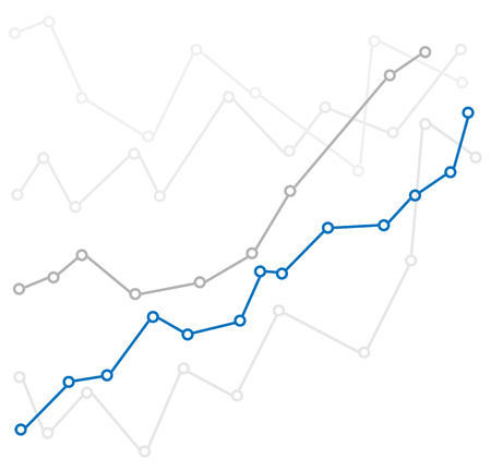 Business chart with uptrend line graph of stock market in flat style. Illustration