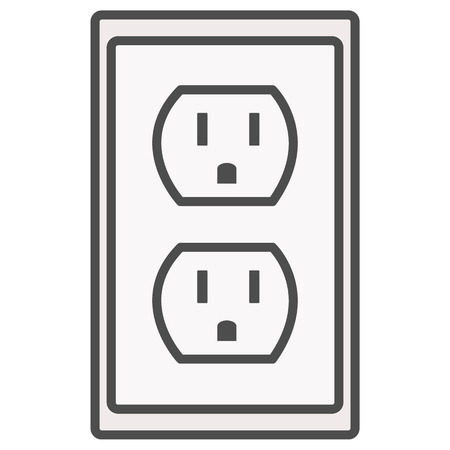 Grounded Power Outlets Symbol White Socket Electric Outlet