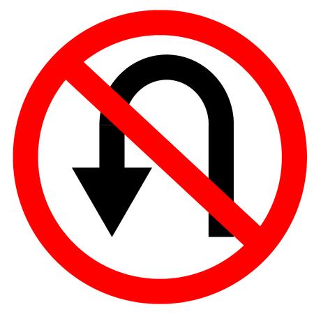 Symbole circulaire unique blanc, rouge et noir sans demi-tour. Ne tournez pas le panneau sur fond blanc. Panneau de signalisation. Vecteurs