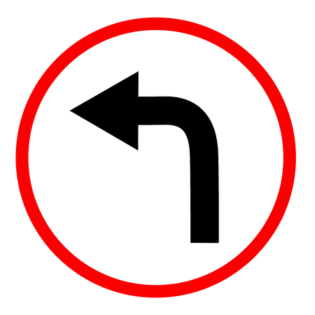 turn left on white background. turn left symbol. flat style. turn left ahead sign. traffic sign. Illustration