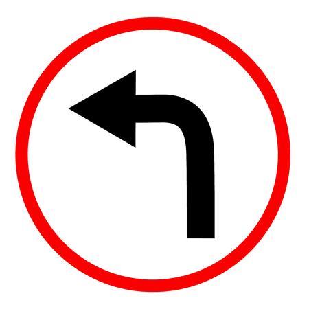 Biegen Sie auf weißem Hintergrund links ab. Biegen Sie links ab. flacher Stil. Biegen Sie links ab in Richtung Schild. Verkehrsschild.