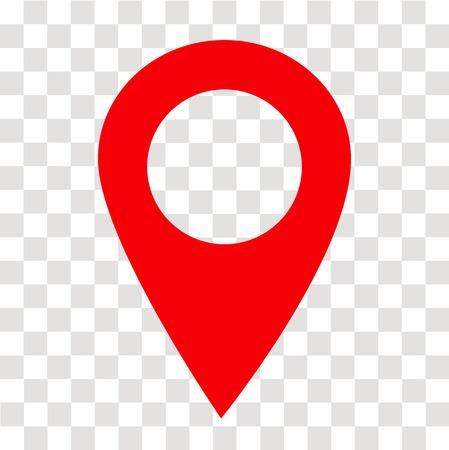 icono de pin de ubicación en transparente. señal de pin de ubicación. estilo plano. símbolo de pin de ubicación rojo. símbolo del puntero del mapa. signo de pin de mapa.