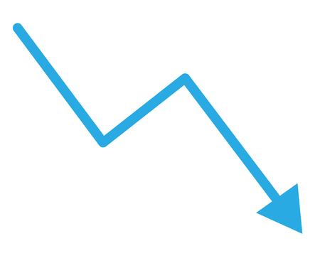 loss bar chart. decline arrow isolated on white background. trend decline graph sign. Stock fotó - 103999629