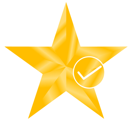 star favorite sign web icon with check mark. star favorite icon on white background. flat style. star favorite with check mark symbol for your web site design, logo, app, UI.
