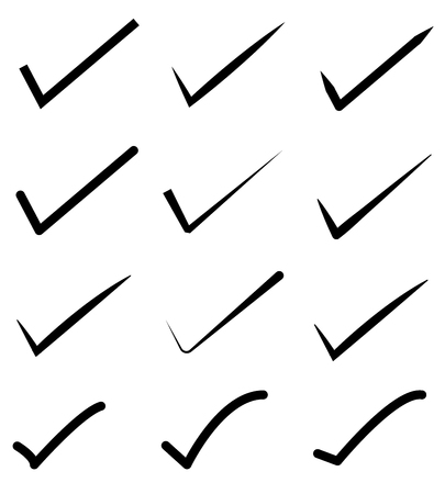 check mark icon set. tick symbols. Yes, vote signs on a white background. flat style. check mark for graphic design, Web site, UI. Illustration