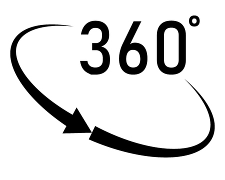 360 degrees angle icon in trendy flat style on white background. angle 360 degrees icon symbol for your web site design, logo, app, UI. angle 360 degrees symbol. rotation of 360 vector icon.