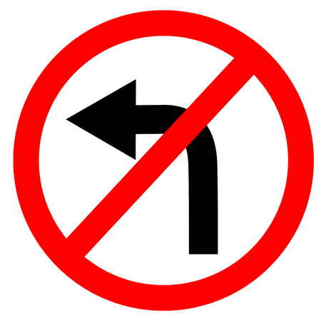 kreisförmige einzelne weiß. rot und schwarz kein links abbiegen Symbol. biegen Sie nicht am Verkehrsschild auf weißem Hintergrund links ab. Verkehrsschild. Vektorgrafik