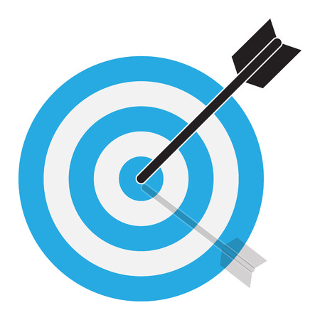 the arrow hits the target. target icon on white background. flat style. blue target icon for your web site design, logo, app, UI. blue comment sign.