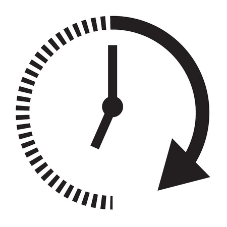 passage of time icon with shadow on black background. flat style. time icon for your web site design, logo, app, UI, mobile app. time and watch. timer symbol. Vettoriali