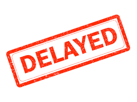 delayed red rubber stamp on white background. delayed stamp sign.  text delayed stamp. Stock Photo