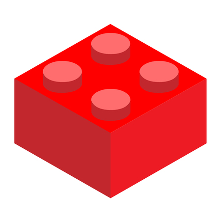 red brick block on white background. flat style. construction block icon.