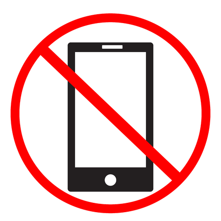no cell phone sign on white background. no mobile phones icon design for your web site design, logo, app, UI. flat style. no phone symbol. no telephone sign. Vectores