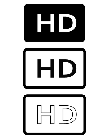 HD icon in trendy flat style isolated on white background. HD sign. HD icon for your web site design, logo, app, UI. HD icon set. movie symbol.