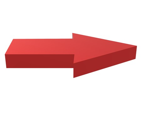 3d red arrow on white background. 3d illustration of red arrow. red arrow sign.