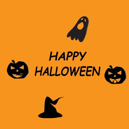 happy halloween icon on orange background. flat style. happy halloween day icon for your web site design, app, UI.