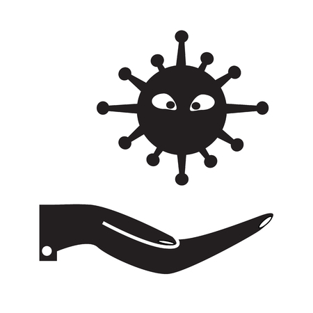 virus infection icon on white background. flat style. map pin icon for your web site design, app, UI. microbe sign. bacterium symbol. virus in hand. Illustration