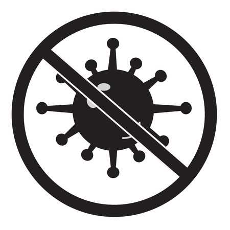 no bacteria icon on white background. no virus sign. flat style. antibacterial sign for your web site design, logo, app, UI. stop bacteria symbol.