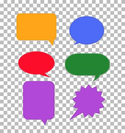 speech bubbles icon on transparent. colorful set dialog boxsign. flat style. speech bubbles sign for your web site design, logo, app, UI. comic empty balloon. Ilustração