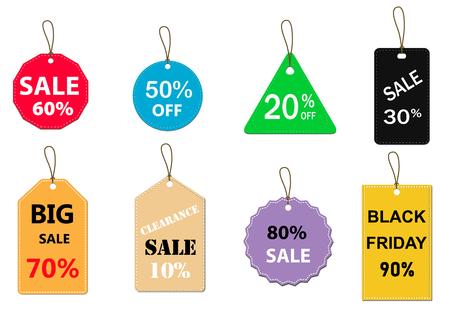 Satz von Verkauf-Tag auf weißem Hintergrund. Sonderangebot Rabatt-Tag-Zeichen. flacher Stil. Verkaufsetiketten setzen das Symbol für Ihr Website-Design, Logo, App, Benutzeroberfläche. Verkauf-Tags-Symbol.