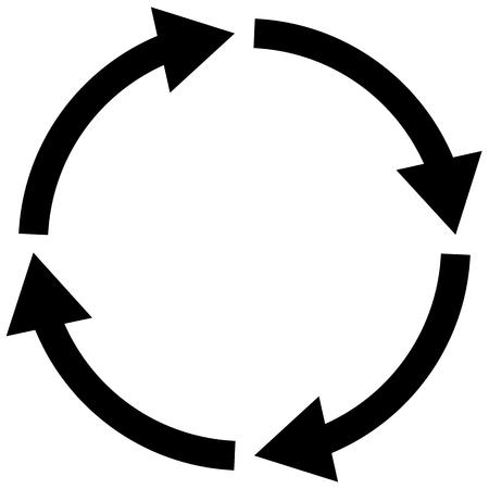 simbolo di processo su sfondo bianco. segno di freccia del ciclo a quattro fasi. stile piatto. icona del ciclo per il design, il logo, l'app, l'interfaccia utente del tuo sito web. simbolo del ciclo della freccia.