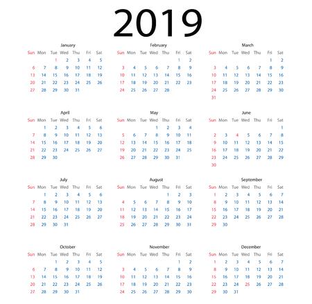 simple calendar 2019. calendar 2019 simple style on white background. week starts Sunday. Иллюстрация