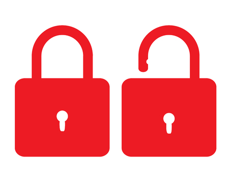 open close lock icon on white background. flat style. lock open and closed icon for your web site design, logo, app, UI. lock sign. padlock symbol. 向量圖像