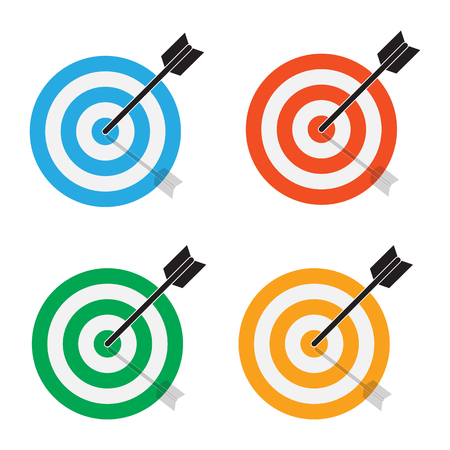 targets icon on white background. flat style. target concept icon for your web site design, logo, app, UI. the arrow hits the target. color target symbol. Иллюстрация