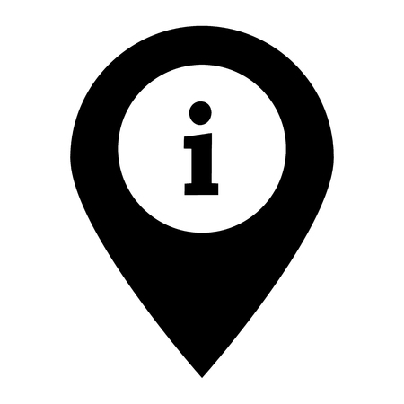 information on pin icon on white background. flat style. information on pin sign for your web site design, logo, app, UI. help sample icon. map pointer with information sign.