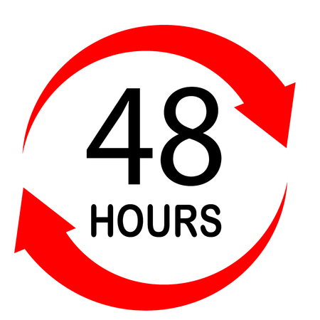 48 hours on white background. flat style. 48 hours sign. 48 hours for your web site design, logo, app, UI. 48 hours symbol. turn around time icon with circular arrow.
