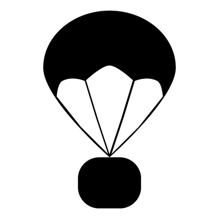 parachute icon on white background. flat style. parachute icon for your web site design, logo, app, UI. delivery service symbol. gift box flying on parachute sign. 向量圖像