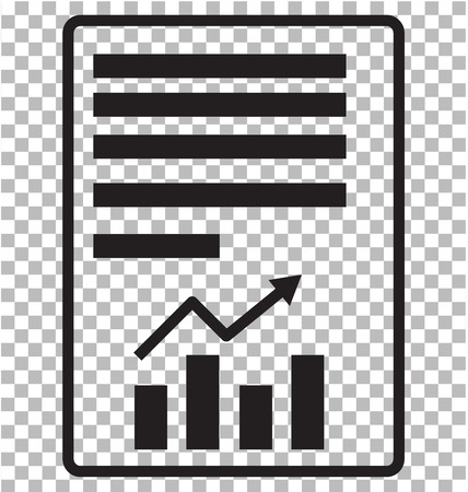 report text file icon on transparent. flat style. document with chart icon for your web site design, logo, app, UI. file symbol. text file sign.