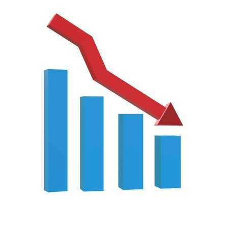 3D chart with bars declining icon on black background. flat style. graph chart icon for your web site design, logo, app, UI. 3D business loss symbol. 3d chart with arrow sign. decrease symbol.