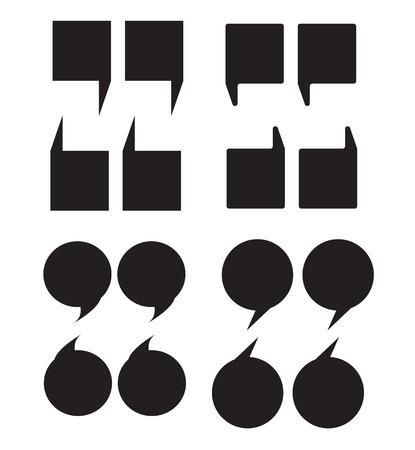 白い背景に引用符のアイコン。フラットスタイル。ブロックは、Webサイトのデザイン、ロゴ、アプリ、UIのチャットアイコンをブロックします。引用マーキングスピーチシンボル。マーク記号。 ベクターイラストレーション