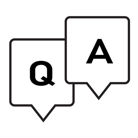 Question and answer glyph icon on white background. flat style. Question answer icon for your web site design, logo, app, UI. Q&A symbol. Question and answer line sign.