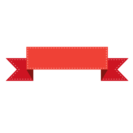 red ribbon banner sign. red ribbon banner on white background. flat style. 向量圖像