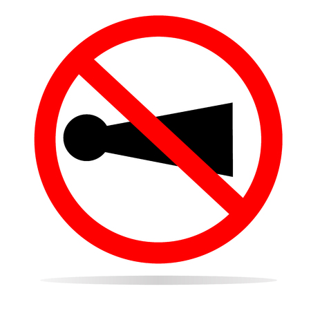 horn prohibited with shadow on white background. flat style. horn prohibited icon for your web site design, logo, app, UI. no sound symbol. dont use horn traffic sign. Illustration