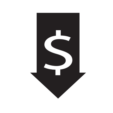 decrease icon on white background. flat style. cost reduction icon for your web site design, logo, app, UI. currency receipt symbol. decrease sign.