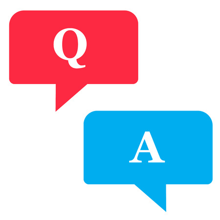 Questions and Answers icon on white background. flat style. questions and answers icon for your web site design, logo, app, UI. chat bubbles symbol. online talk sign. customer service symbol. 向量圖像