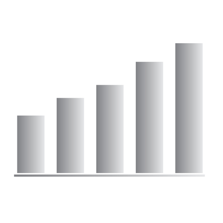 chart growing bar icon on white background. flat style. chart growing bar icon for your web site design, logo, app, UI. bar chart symbol. gray business graph sign.