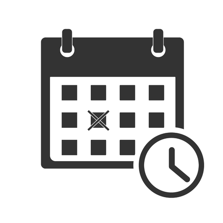 calendar icon on white background. flat style. calendar icon for your web site design, logo, app, UI. calendar with clock symbol. date check sign.