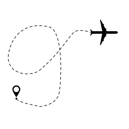 plane and track icon on a white background. flat style. airplane path in dotted line shape. airplane flying symbol. airplane line sign. 向量圖像