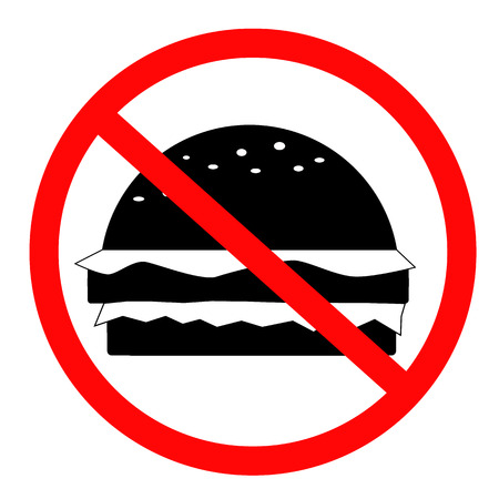 Do not food icon on white background. flat style. no fast food icon for your web site design, logo, app, UI. prohibition sign for food symbol. no burger sign.