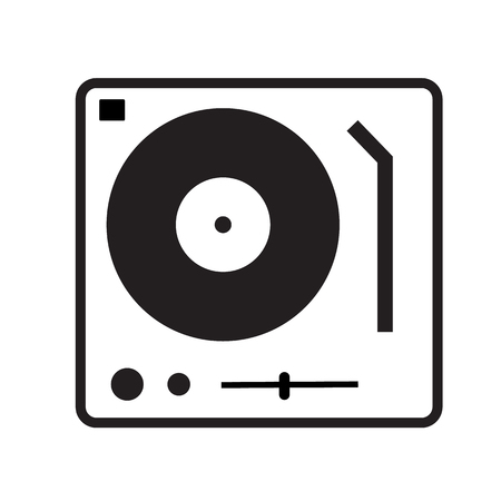 Disk Jockey turntable icon on white background. flat style. Disk Jockey turntable icon for your web site design, logo, app, UI. gramophone symbol. dj console sign. 向量圖像