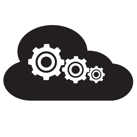 settings of cloud storage icon on white background. flat style. cloud computing icon for your web site design, logo, app, UI. settings of cloud storage symbol. cloud computing sign.