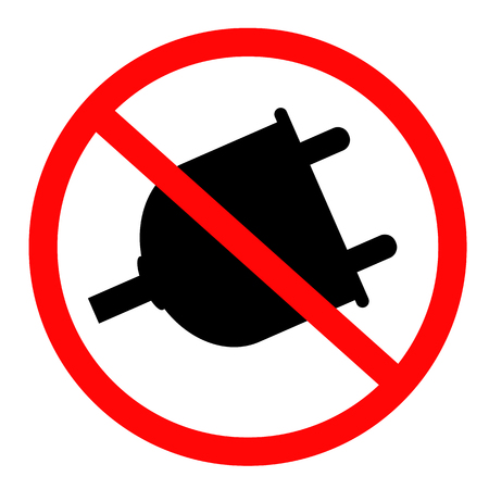 no plug icon on white background. flat style. STOP! no plug icon for your web site design, logo, app, UI. no plug symbol. STOP! no plug sign.