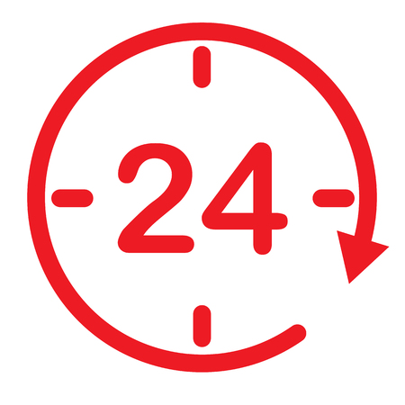 24 hours assistance. clock symbol. open 24 hours icon for your web site design. twenty four hour icon on white background. flat style. 24 hours sign. Иллюстрация